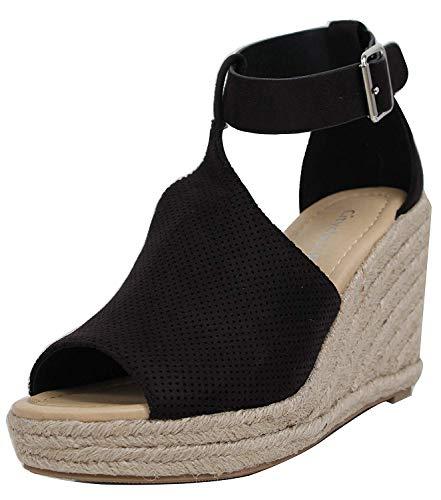 Abierta Con Para De Pulsera Sandalias Negro Tobillo Correa Tacones Cuña Punta Mujer Zapatos P1q1d
