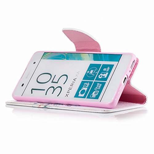 Yiizy Sony Xperia XA Custodia Cover, Azzurro Albero Design Sottile Flip Portafoglio PU Pelle Cuoio Copertura Shell Case Slot Schede Cavalletto Stile Libro Bumper Protettivo Borsa