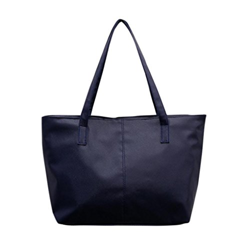 Hot Sale ! Clearance JYC Ladies Women Stylish Waterproof Tote Bag Nylon Travel Shoulder Beach Bags Leather Shoulder Bag Celebrity Tote Purse Dark Blue