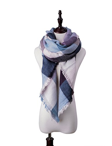 Womens Big Square Scarf Multi-Color Plaid Blanket Shawl Long Tartan Shawl (Dark blue) (Scarf Blue Plaid)