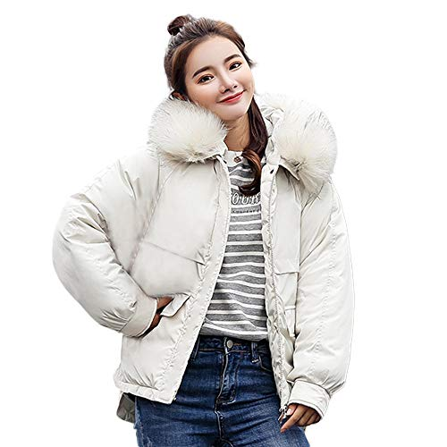 omen's Fashion Winter Warm Outwear Coat Down Jacket Ladies Fur Hooded Jackets Long Puffer Parka (White, 2XL) ()