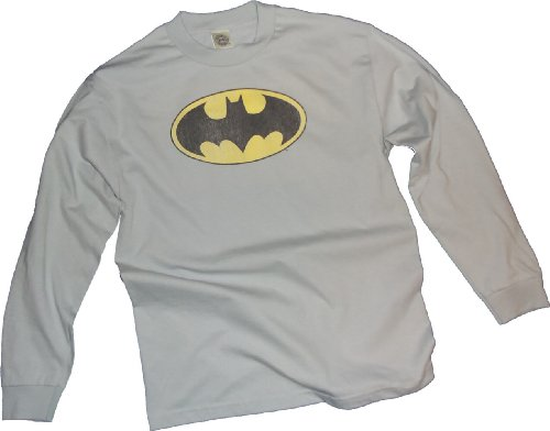 Batman+Retro+Shirts Products : Batman Classic Distressed Logo Adult Long-Sleeve T-Shirt