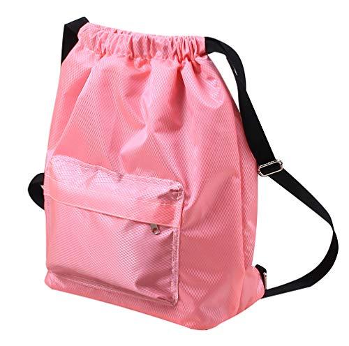 SYCYKA Beach Backpack Portable Waterproof Gym Swim Pool Drawstring Bag, Adjustable Dry Wet Separated Sport Equipment Bags for Men Women Kids (Pink-1)