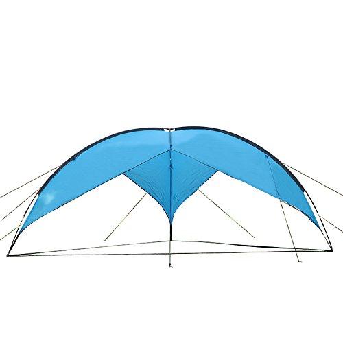(Hasika 15.7 x 15.7 Ft Outdoor Sunshade Basecamp Shelter Tripod Beach Shelter Canopy Fiberglass Poles Family Triangular Sun Shade Camping)
