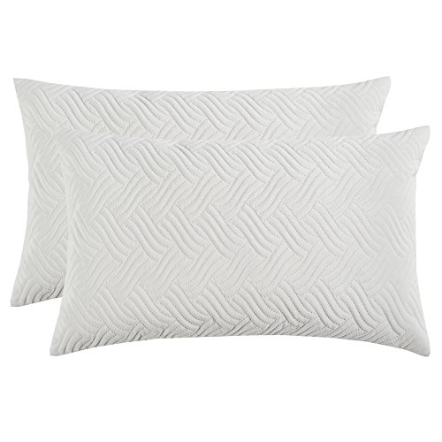 Artcest Set of 2, Decorative Velvet Bed Throw Pillow Case, Sofa Soft Quilted Pattern, Comfortable Couch Cushion Cover (White, 12x20 - Plain Accent