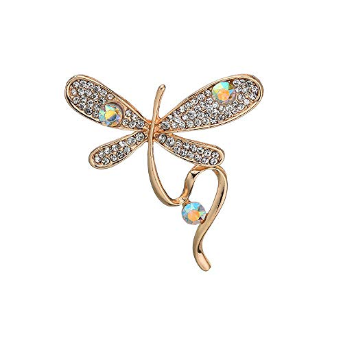 Butterfly Style Shining AB Crystal Brooches Pin Women Party Jewelry Exquisite Colorful Metal Insect Animal Brooch Accessory -