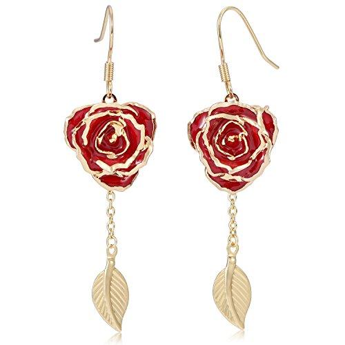 Carnelian Flower Dangle Earrings - Earrings for Women 24K Gold Dipped Rose Flower Dangle Ear rings Jewelry for Her Made of Fresh Rose, Last Forever Mother's/Thanksgiving/Christmas/Valentine's/Birthdays Party/Graduations (Red) EH002
