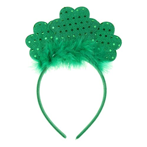 St Patricks Day Sequin Shamrock Fluffy Headband Party Leprechaun Costume]()