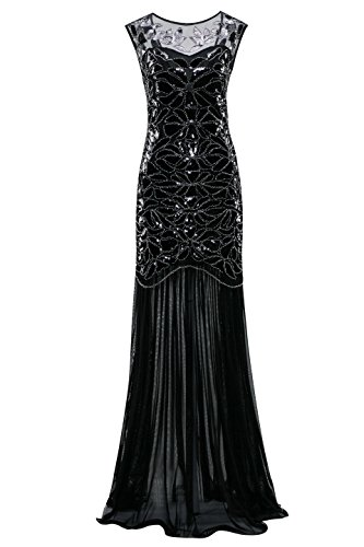 Costume Annees 20 (Metme Women's 1920s Beaded Sequin Vintage Classic Long Flapper Gatsby Prom Dress)