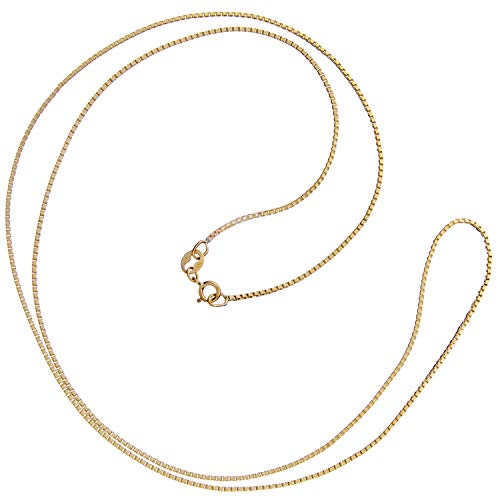 14K Solid Yellow Gold Necklace | Box Link Chain | 22 Inch Length | 1.0mm Thick | With Gift Box ()