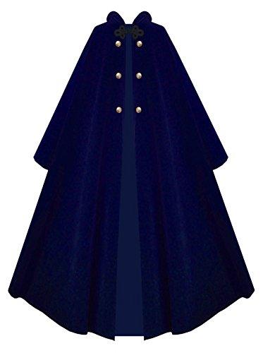 Victorian Vagabond Hooded Steampunk Gothic Medieval Cape Cloak (Navy Blue)