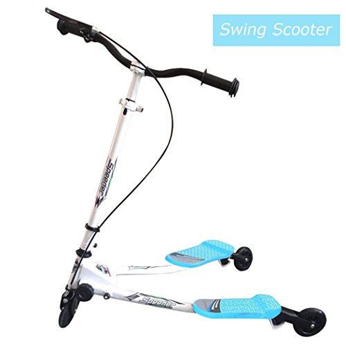 Swing Scooter for Kids, 3 Wheels Foldable Tri Slider Motion Winged Drifter Push Y Wiggle Scooter for Age 5+