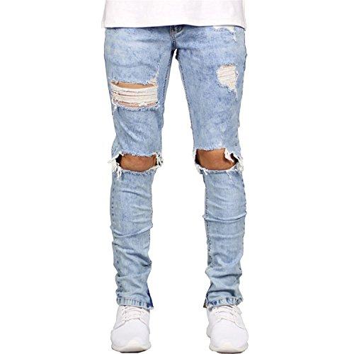 Jeans Refuelr Rasgados Skinny Hombre de Jeans Black destrozadas con Casuales Llantas wPIx1P