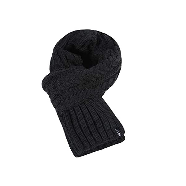 CACUSS Men's Winter Long Thick Cable Knitted Scarf Soft Warm Scarves for Cold Weather Black