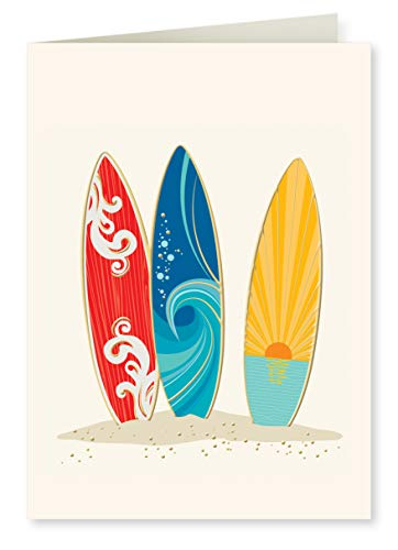 Faux Designs Surfboards Foil Embossed Blank Folded Note Card Set of 8
