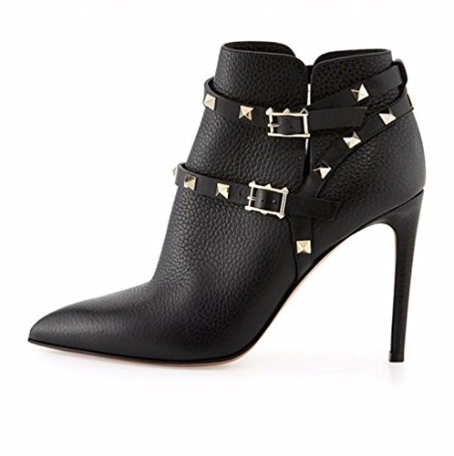 NVXIE Women Ladies Ankle Short Boots Stiletto High Heel Shoes Pointed Leather Black Metal Button rivet Spring Autumn Winter BLACK-EUR36UK354 xNWQyk