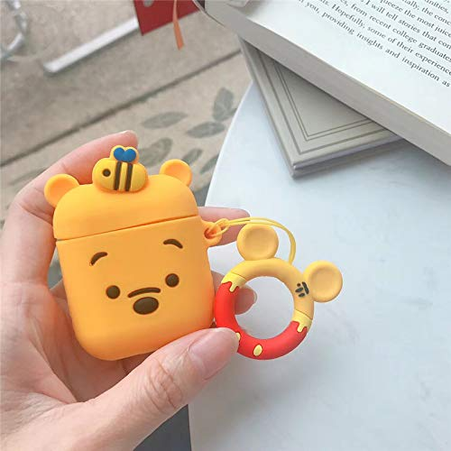 Axbety for AirPods Case Bluetooth Wireless Earphone Case for Apple Airpods Charging Box Cartoon Protect Cover with Finger Ring Strap (Pooh)