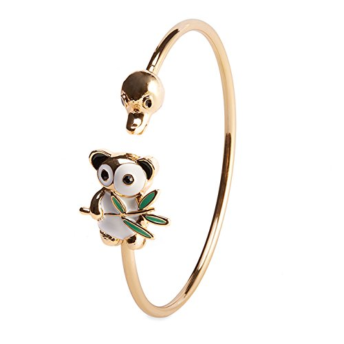 [KINGSIN Jewelry 18k Gold Planted Duck & Panda Enamel Alloy Cuff Bangle Stretch Open Bracelet] (Easy Homemade Panda Costumes)
