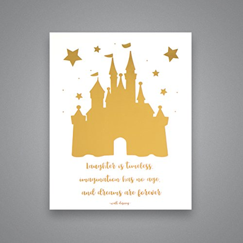 Cinderella Castle & Disney Quote - Gold Foil Art Print- Inspirational Quote Modern Wall Art - 8 inches x 10 inches