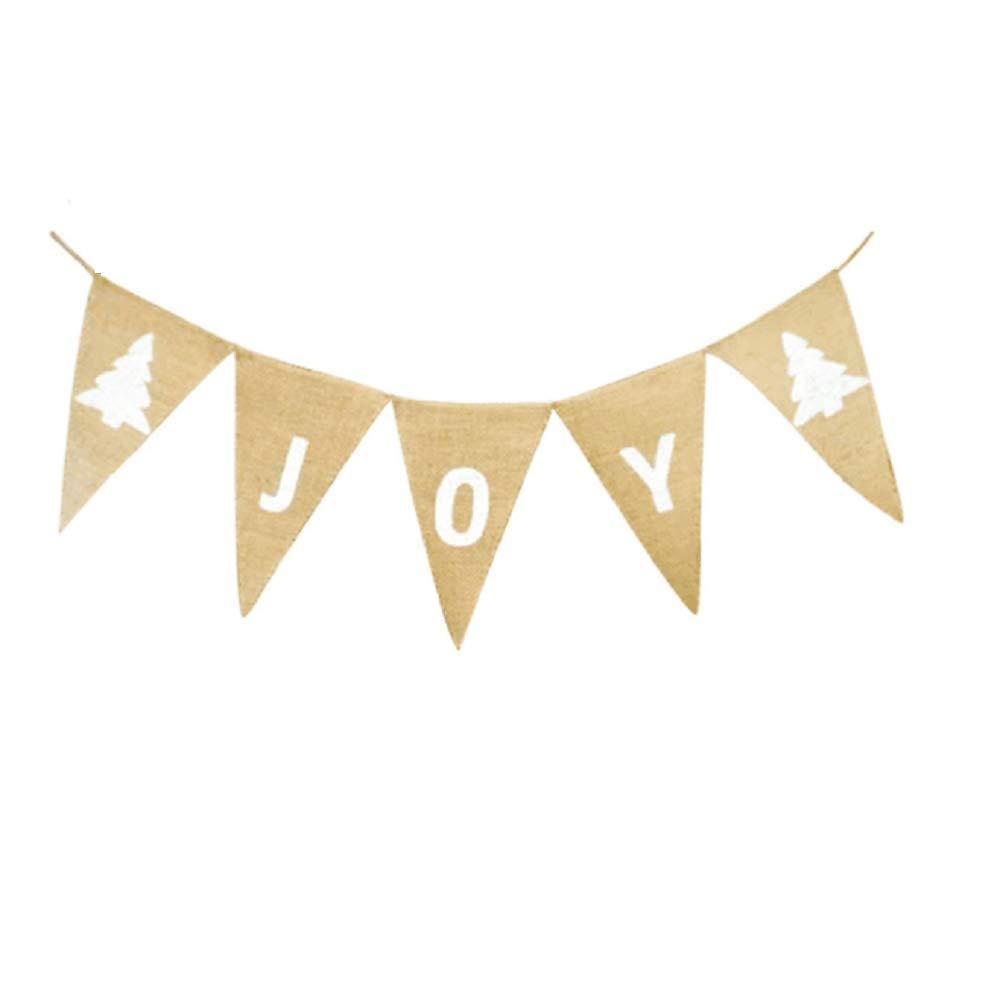 クリスマスバナー JOY バンティングガーランド パーティーバナー XMAS パーティーホームデコレーション ホワイト(クリスマスツリー)   B07H7H8F36