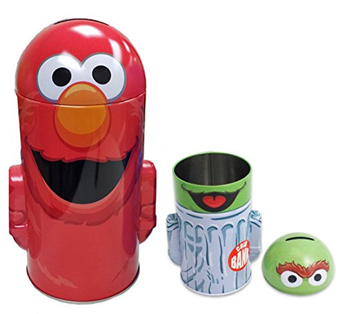 (Sesame Street Elmo Red Colored Pop Off Top Coin Bank)
