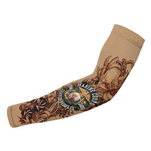 USMC SEMPER FIDELIS Temporary Tattoo Sleeves Compression Arm Sleeve (Temporary Tattoos Usmc)