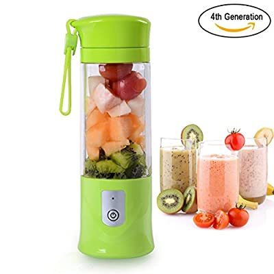 Portable Blender, Ordergo USB Juicer Cup, Fruit, Smoothie, Baby Food Mixing Machine with Powerful Motor, 4400mAh High Capacity Batteries - Green