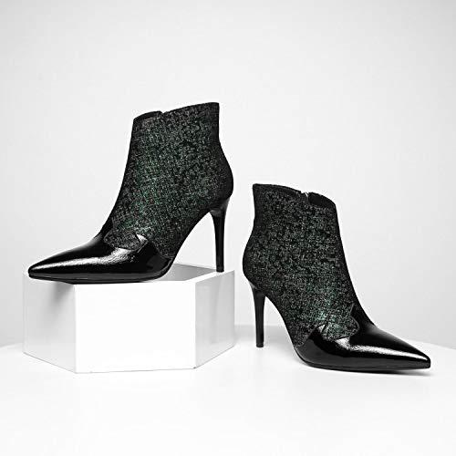 Alti Pointed Sparkle In Dance Womens Martin Moda Stiletto Party Tacchi Boots Green Christmas Stivaletti Pelle Ladies d8PwqtxE