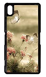 Sony Xperia Z2 Case PC Customized Unique Print Design Butterflies And Flowers Case Cover For Sony Xperia Z2