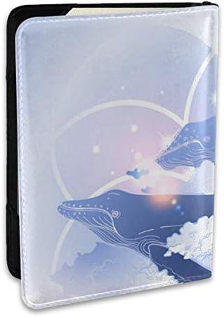 かわいい イルカ 星 パープル ブルー ピンク パスポートケース メンズ 男女兼用 パスポートカバー パスポート用カバー パスポートバッグ ポーチ 6.5インチ高級PUレザー 三つのカードケース 家族 国内海外旅行用品 多機能
