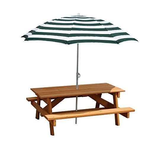 Gorilla 02-3003 Playsets Children's Picnic Table with Umbrella, Great for Picnic and Play Board Games, 300lbs. Weight Capacity by Gorilla (Image #1)