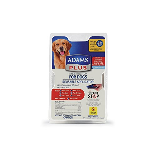 Adams Plus Flea and Tick Spot On for Dogs, Extra Large Dogs 61-150 Pounds, 3 Month Supply, With (Flea Spot)
