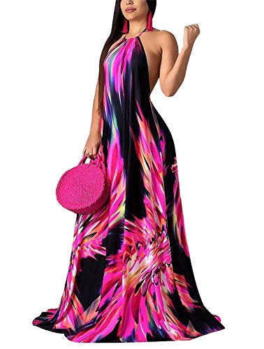 Women's Sexy Sleeveless Halter Neck Backless Vintage Floral Print Maxi Dress Long Beach Evening Party Red XL ()