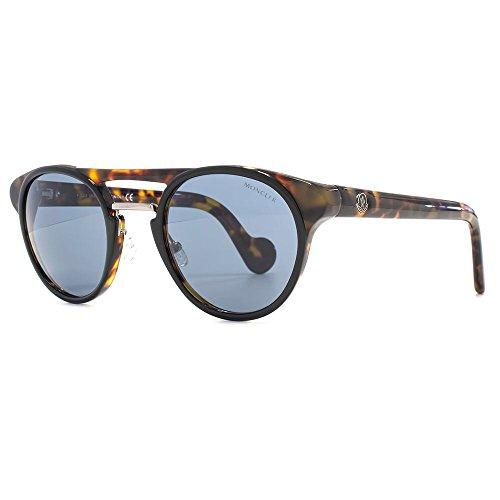 Moncler Double Bridge Round Sunglasses in Havana Blue ML0019 20V 50 50 Blue Havana