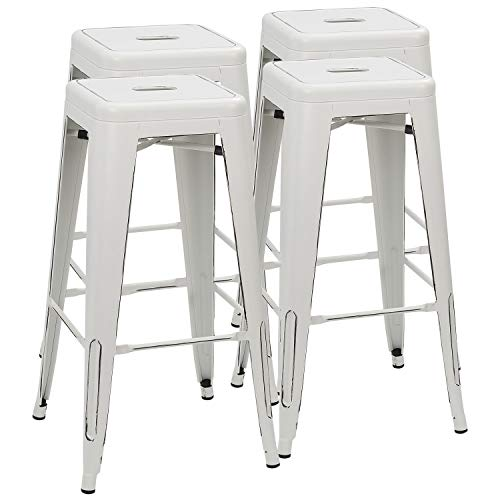 Furmax 30 Inches Metal Bar Stools High Backless Stools Indoor-Outdoor Stackable Stools Set of 4 (Distressed White) (Stools White)