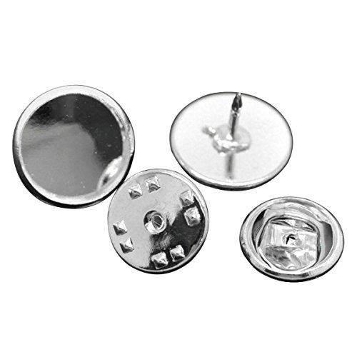 Cabochon Clasp - HOUSWEETY 30PCs Sets Silver Plated Round Cabochon Setting Brooches 14x10mm 11x6mm(Fit 12mm)