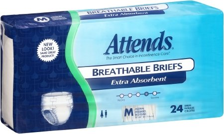Attends Breathable Briefs with Odor Shield for Adult Incontinence Care, Medium, Unisex ,  24 Count (Pack of 4)