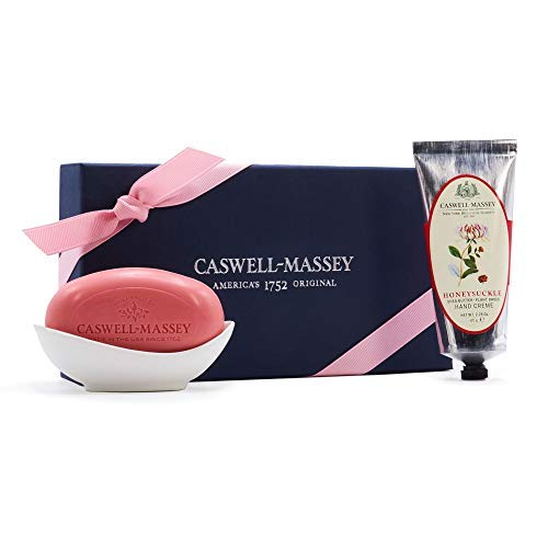 Caswell-Massey Honeysuckle Gift Set with Hand Cream and Triple Milled Soap with Porcelain Dish - NYBG Luxury Gift Set - Made In USA