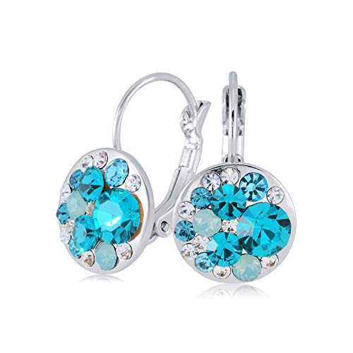 UPSERA Colorful Dangle Leverback Earrings for Women Made with Swarovski Crystals Silver Tone Plated Fashion Drop Jewelry Gift for Her Blue Zircon