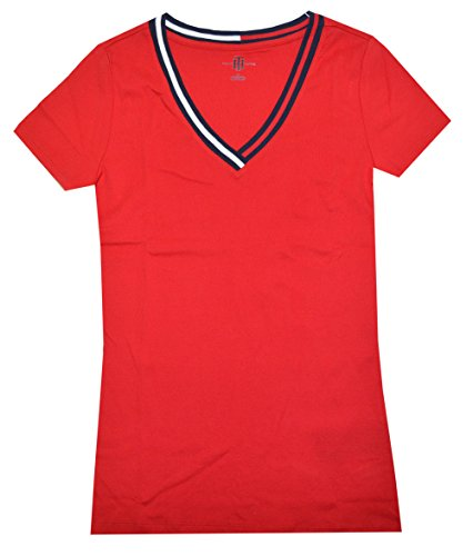 Tommy Hilfiger Women Signature Short Sleeve V-neck Logo Tee (XXL, Red)