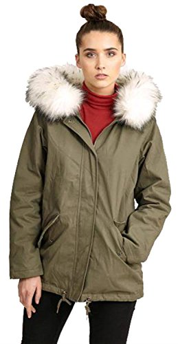 Nouveau Capuche Manteau 44 Toison Hiver 36 Fur Vestes Blanc Couleur Doublé White Khaki Dames À Parka CrAwCxpq