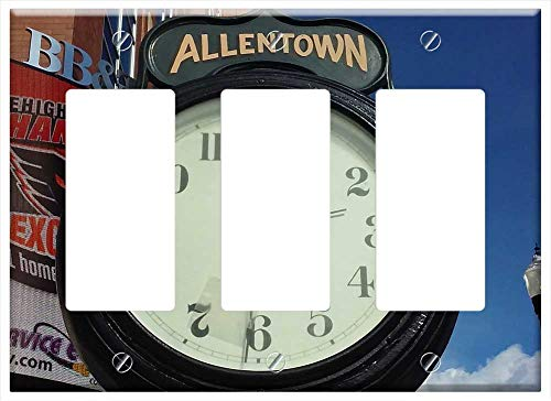 Switch Plate Triple Rocker/GFCI - Clock Allentown Center City Urban Time Streetview
