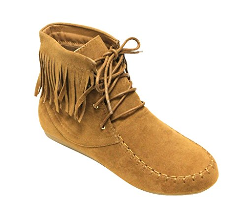 Forever Candice-21 Women's Almond Toe lace up Tassel Decor Fringe Moccasin Flat Suede Ankle Boots Tan 7.5