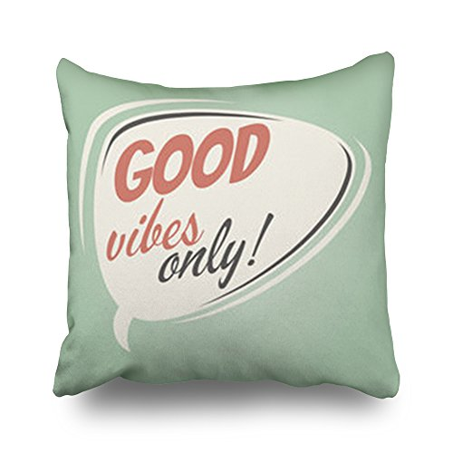 Throw Pillow Covers Good Vibes Only Retro Speech Bubble Miscellaneous 50S Vintage Square Size 20 x 20 inches Decorative Pillow Cases Home Decor Zippered Cushion Pillowcases