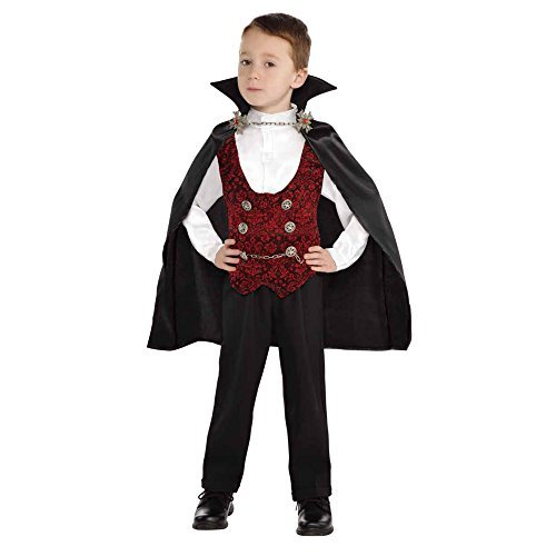 Toddler Vampire Boy Halloween Costume with Plastic Chain Detachable Cape For 2-4T -