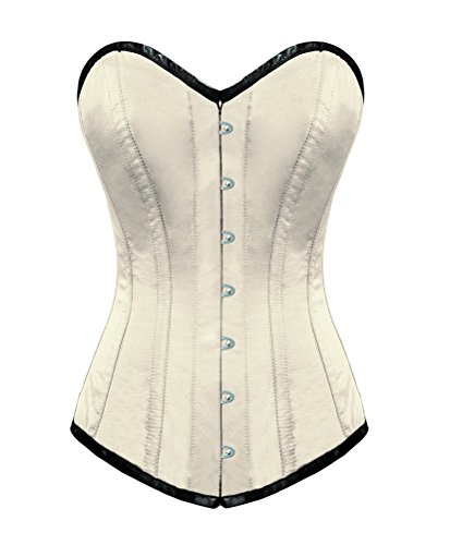 窒息させるリハーサル賠償White Satin Gothic Burlesque Waist Training Basque LONG Overbust Corset Costume
