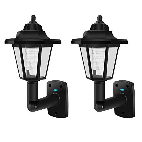 2-Pack Classic Solar Wall Lantern Lamp, Weatherproof LED Outdoor Path Light, Solar-Powered Walkway Wall Mounted Light - Classic Wall Lamp