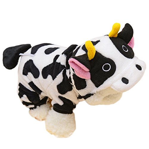 Cow Hoodie Dog Costumes (Cute Pet Dog Cat Clothes Dog Cow Costume Jumpsuit Coat with Hoodie Party Cosplay Apparel (L))