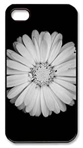 Art Fashion Black PC DIY Case for iPhone 4 Generation Back Cover Case for iPhone 4S with White Flower Black Background