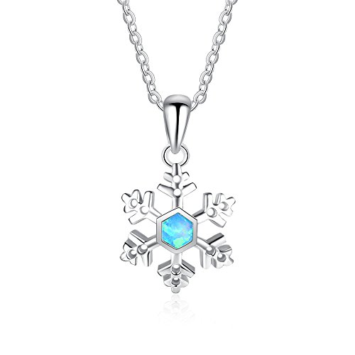 Diamond Cut Snowflake Pendant - J.Me 925 Sterling Silver Synthetic Blue Opal Snowflake Necklace Pendant Jewelry For Women Wife Girl Birthday Lady 18